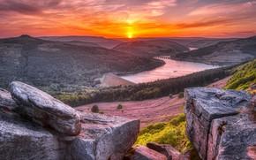 Picture Sunset, England, Peak District, Ladybower Reservoir, Bamford Edge