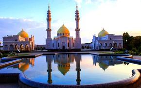 Picture reflection, pool, tower, dome, Tatarstan, WADA, Белая мечеть, Болгар