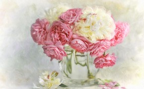 Picture glass, water, flowers, background, bouquet, petals, art, vase, pink, white, painting, peonies