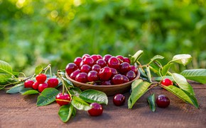 Picture leaves, cherry, berries, table, bowl, cherry