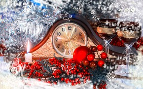 Picture winter, branches, red, berries, holiday, arrows, watch, ball, candle, ball, glasses, fruit, Christmas, New year, …