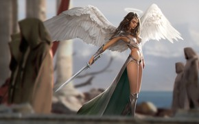 Wallpaper girl, sword, fantasy, armor, weapon, wings, Angel, elf, digital art, artwork, warrior, fantasy art, illustration, ...