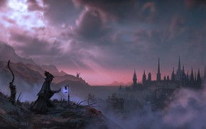 Picture landscape, night, clouds, weapons, silhouette, lantern, Bloodborne