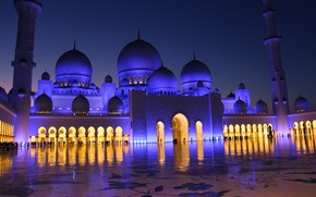 Picture the city, the evening, lighting, mosque, architecture, religion, UAE, dome, The Sheikh Zayed Grand mosque, …