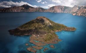 Picture nature, lake, the volcano, USA