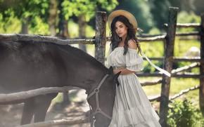 Picture summer, look, girl, pose, horse, hat, dress, Anastasia Barmina
