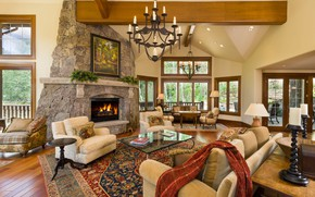 Picture Villa, interior, fireplace, living room, hall, luxury villa, lobby
