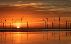 Picture the sun, sunset, silhouette, glow, wind power