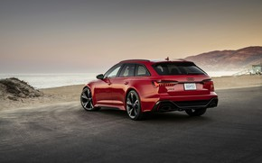 Picture beach, red, Audi, shore, universal, RS 6, 2020, 2019, V8 Twin-Turbo, RS6 Avant