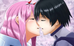 Picture kiss, Darling In The Frankxx, two, love, Cute in France