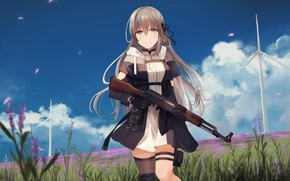 Picture The sky, Girl, Field, Weapons