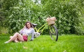 Picture greens, look, trees, flowers, bike, pose, Park, basket, model, skirt, portrait, makeup, figure, hairstyle, brown …