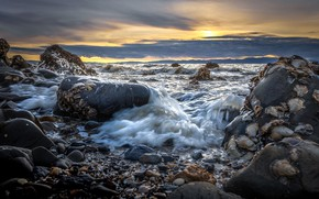 Picture sea, wave, sunset, stones, Marina