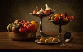 Picture metal, the dark background, table, harvest, bow, dishes, still life, vegetables, tomatoes, items, a lot, …