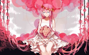 Picture balls, roses, bouquet, vocaloid, crying, Megurine Luka