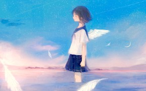 Picture the sky, water, angel, girl, fantasy