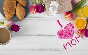 Picture flowers, coffee, Breakfast, colorful, tulips, flowers, tulips, coffee cup, spring, croissants, breakfast, growing, mother's day
