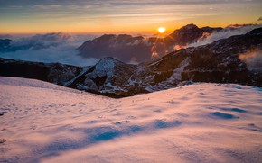 Picture winter, the sky, the sun, clouds, rays, snow, landscape, sunset, mountains, nature, fog, hills, the …