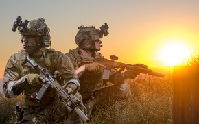 Picture sunset, army, soldiers