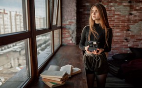Picture look, girl, books, window, the camera, Polaroid, Alexey Yuriev