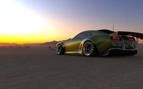 Picture Sunset, The evening, Green, Machine, Dodge Challenger, Pontiac, Firebird, Rendering, Transport & Vehicles, November Tlibekov, …