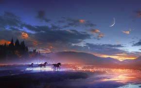 Wallpaper landscape, the sky, clouds, water, the moon, horse, trees, art, mountains, animals