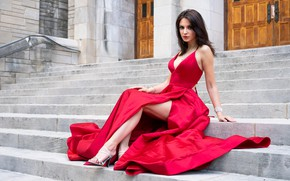 Picture look, sexy, pose, model, the building, portrait, makeup, figure, dress, hairstyle, stage, brown hair, legs, …