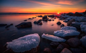 Picture ice, winter, the sky, the sun, clouds, rays, snow, landscape, sunset, nature, lake, stones, color, …