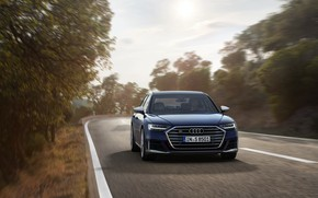Picture trees, blue, Audi, sedan, roadside, Audi A8, Audi S8, 2020, 2019, V8 Biturbo