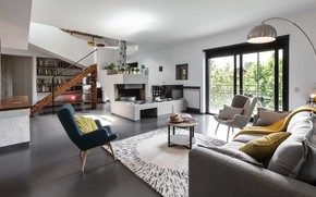 Picture interior, fireplace, library, living room, by Andrea Bonetti, Casa MC