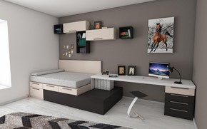 Picture room, bed, pc table