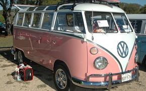 Picture Summer, Pink, Bus, Journey, Volkswagen, Loaf