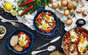 Picture food, eggs, pepper, scrambled eggs, tomatoes
