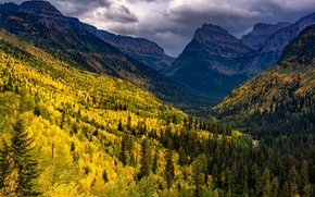 Picture autumn, forest, mountains, the slopes