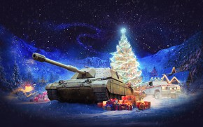 Picture winter, snow, trees, landscape, mountains, night, lights, background, new year, hangar, jeep, tank, gifts, houses, …