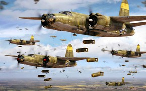 Picture WWII, Marauder, B-26, The bombing, Bombs, Tactical bomber, USA