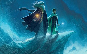 Picture sea, wave, rock, beard, cloak, Potter, Harry Potter, Harry, magic wand, Albus, Albus, Dumbledore, дамблдор, …