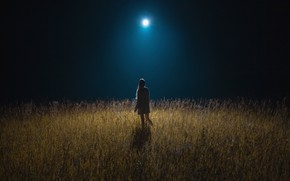 Picture wallpaper, girl, moon, field, girls, nature, night, mood, moonlight, meadow