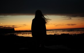Picture GIRL, HAIR, HORIZON, The SKY, SUNSET, DAL