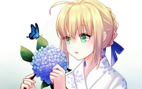 Picture girl, flowers, hydrangea, Saber, Fate / Stay Night, Fate stay Night