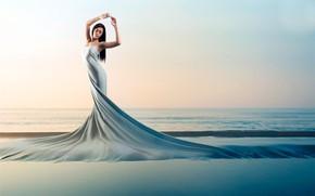 Picture sea, pose, movement, wave, beauty, grace, sea, beauty, grace, charm, wave, pose, movement, charm