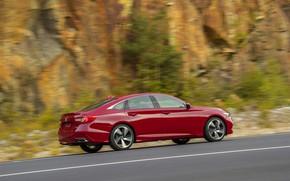 Picture red, movement, Honda, Accord, sedan, side, 2018, four-door, 2.0T Sport