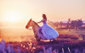 Picture girl, horse, horse, dress, Heather, Kristina Makeeva