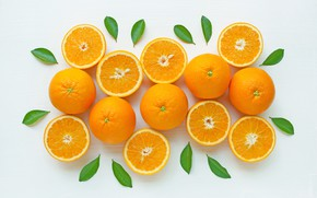 Wallpaper oranges, fruit, fresh, leaves, leaves, orange, fruits