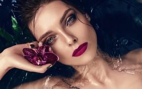 Picture look, water, girl, face, model, makeup, lips, Orchid, Patricia Evening, Agnieszka Golebiewska