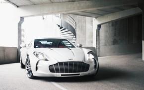 Picture Supercar, White, Parking, Aston Martin One 77