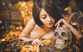 Picture girl, face, pose, gold, model, skull, figure, values