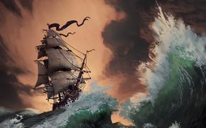 Picture Sea, Wave, Storm, Ship, Storm, Sailboat, Pirates, Sails, Pirates, Storm, Sunset, Illustration, Concept Art, Vessel, …