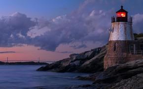 Picture sea, the sky, clouds, light, night, stones, rocks, lighthouse, the evening, twilight, burns, rocky