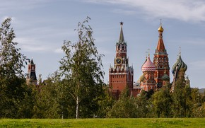 Picture summer, trees, landscape, nature, the city, tower, Moscow, Cathedral, temple, The Kremlin, St. Basil's Cathedral, …